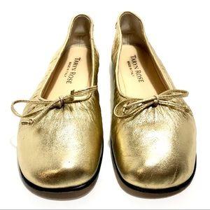 Women's Taryn Rose Metallic Gold Flats Sz 37.5 N.